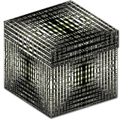 Interwoven Grid Pattern In Green Storage Stool 12