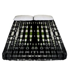 Interwoven Grid Pattern In Green Fitted Sheet (queen Size) by Simbadda