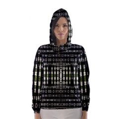 Interwoven Grid Pattern In Green Hooded Wind Breaker (women) by Simbadda