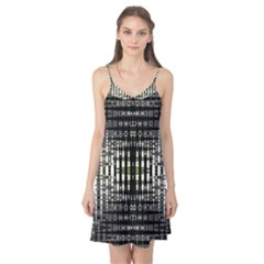 Interwoven Grid Pattern In Green Camis Nightgown