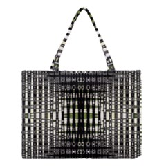 Interwoven Grid Pattern In Green Medium Tote Bag