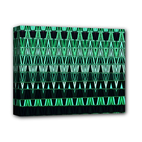 Green Triangle Patterns Deluxe Canvas 14  X 11  by Simbadda