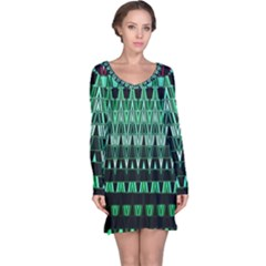 Green Triangle Patterns Long Sleeve Nightdress by Simbadda