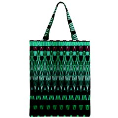 Green Triangle Patterns Zipper Classic Tote Bag by Simbadda