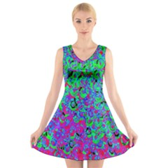 Green Purple Pink Background V Neck Sleeveless Skater Dress