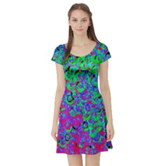Green Purple Pink Background Short Sleeve Skater Dress by Simbadda