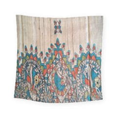 Blue Brown Cloth Design Square Tapestry (small) by Simbadda