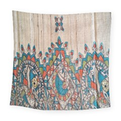 Blue Brown Cloth Design Square Tapestry (large)