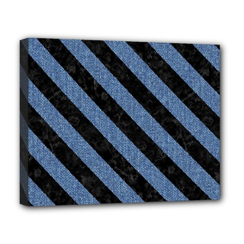 Stripes3 Black Marble & Blue Denim (r) Deluxe Canvas 20  X 16  (stretched) by trendistuff