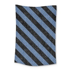 Stripes3 Black Marble & Blue Denim (r) Small Tapestry by trendistuff
