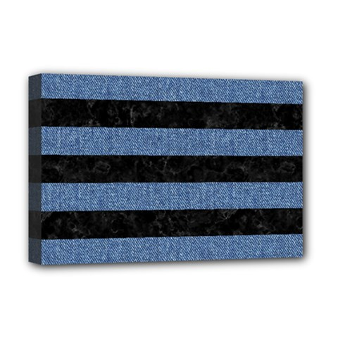 Stripes2 Black Marble & Blue Denim Deluxe Canvas 18  X 12  (stretched) by trendistuff