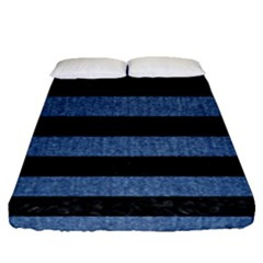Stripes2 Black Marble & Blue Denim Fitted Sheet (queen Size) by trendistuff