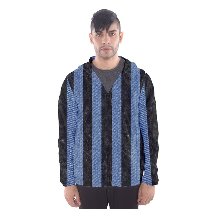 STRIPES1 BLACK MARBLE & BLUE DENIM Hooded Wind Breaker (Men)