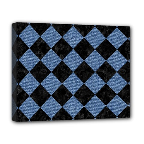 Square2 Black Marble & Blue Denim Deluxe Canvas 20  X 16  (stretched) by trendistuff