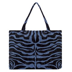 Skin2 Black Marble & Blue Denim Medium Zipper Tote Bag by trendistuff