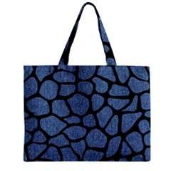 Skin1 Black Marble & Blue Denim Zipper Mini Tote Bag by trendistuff