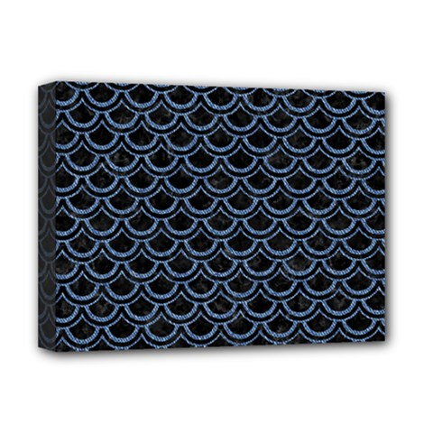 Scales2 Black Marble & Blue Denim Deluxe Canvas 16  X 12  (stretched)  by trendistuff