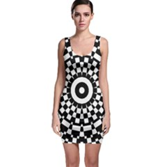 ba044480af22 Checkered Black White Tile Mosaic Pattern Sleeveless Bodycon Dress by  CrypticFragmentsColors