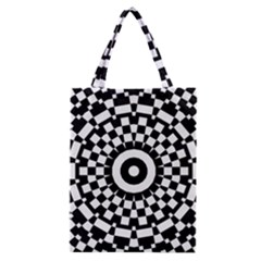 Checkered Black White Tile Mosaic Pattern Classic Tote Bag by CrypticFragmentsColors