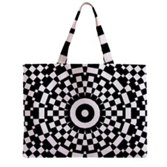 Checkered Black White Tile Mosaic Pattern Zipper Mini Tote Bag by CrypticFragmentsColors