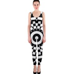 Checkered Black White Tile Mosaic Pattern Onepiece Catsuit by CrypticFragmentsColors