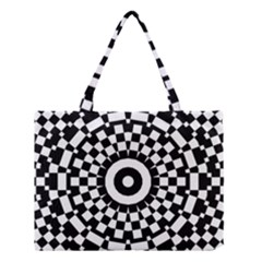 Checkered Black White Tile Mosaic Pattern Medium Tote Bag by CrypticFragmentsColors