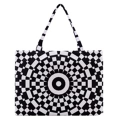 Checkered Black White Tile Mosaic Pattern Medium Zipper Tote Bag by CrypticFragmentsColors