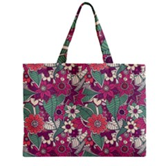 Seamless Floral Pattern Background Zipper Mini Tote Bag by TastefulDesigns