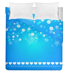 Blue Dot Star Duvet Cover Double Side (queen Size)