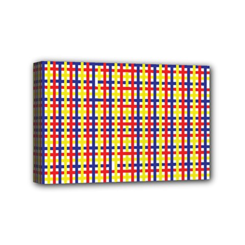 Yellow Blue Red Lines Color Pattern Mini Canvas 6  X 4  by Simbadda