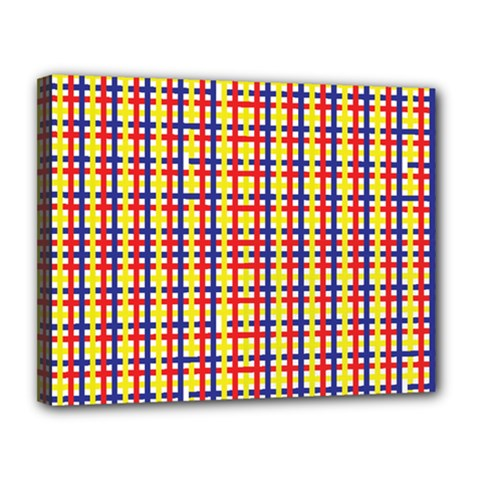 Yellow Blue Red Lines Color Pattern Canvas 14  X 11
