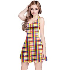 Yellow Blue Red Lines Color Pattern Reversible Sleeveless Dress