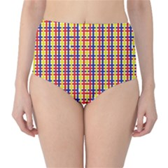 Yellow Blue Red Lines Color Pattern High Waist Bikini Bottoms