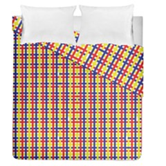 Yellow Blue Red Lines Color Pattern Duvet Cover Double Side (queen Size)