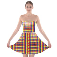 Yellow Blue Red Lines Color Pattern Strapless Bra Top Dress
