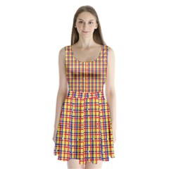 Yellow Blue Red Lines Color Pattern Split Back Mini Dress  by Simbadda