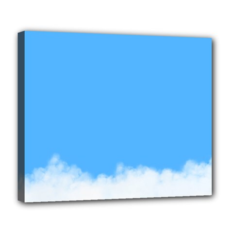 Blue Sky Clouds Day Deluxe Canvas 24  X 20   by Simbadda
