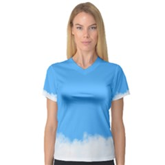 Blue Sky Clouds Day Women s V Neck Sport Mesh Tee
