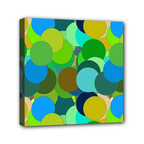 Green Aqua Teal Abstract Circles Mini Canvas 6  X 6  by Simbadda