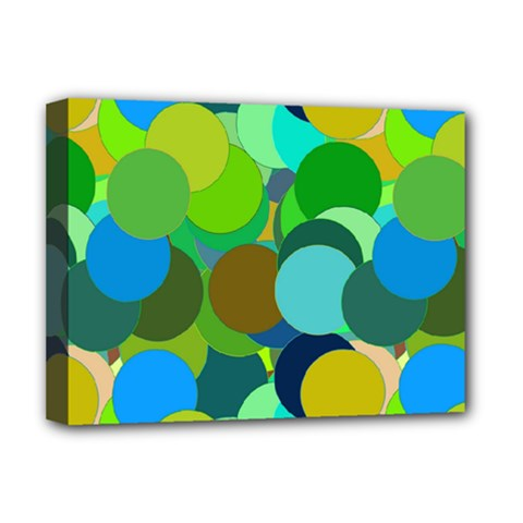 Green Aqua Teal Abstract Circles Deluxe Canvas 16  X 12