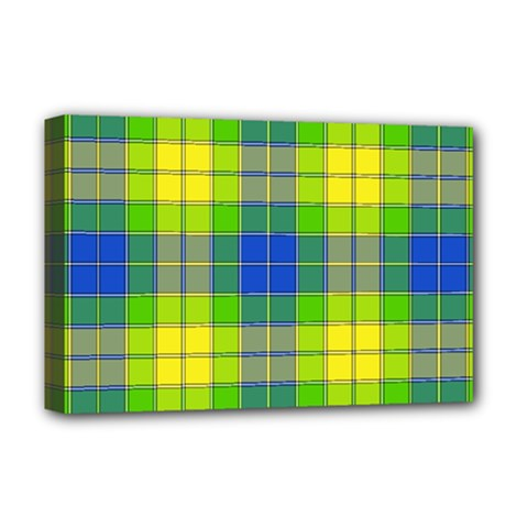 Spring Plaid Yellow Deluxe Canvas 18  X 12