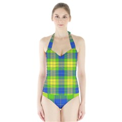 Spring Plaid Yellow Halter Swimsuit by Simbadda