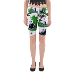 Cute Panda Cartoon Yoga Cropped Leggings by Simbadda