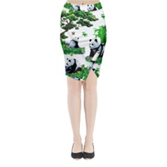 Cute Panda Cartoon Midi Wrap Pencil Skirt by Simbadda