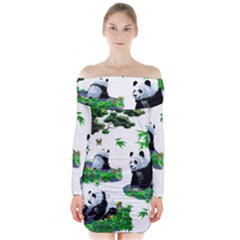 Cute Panda Cartoon Long Sleeve Off Shoulder Dress by Simbadda