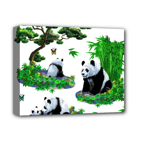 Cute Panda Cartoon Deluxe Canvas 14  X 11  by Simbadda