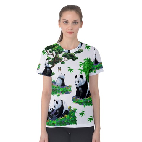 Cute Panda Cartoon Women s Cotton Tee by Simbadda