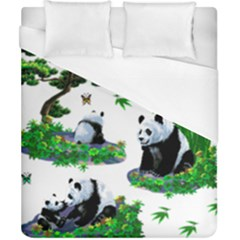 Cute Panda Cartoon Duvet Cover (california King Size) by Simbadda
