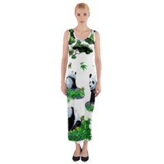 Cute Panda Cartoon Fitted Maxi Dress by Simbadda