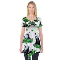 Cute Panda Cartoon Short Sleeve Tunic  by Simbadda